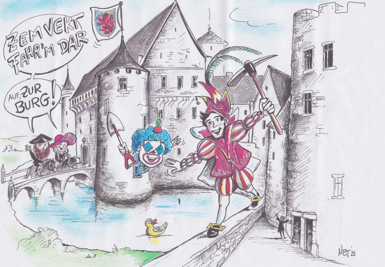 Karikatur Burg St.Vith
